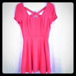 LULU'S Coral Skater Dress X Back Sz Med